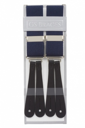 Midnight Blue Braces With Leather Ends